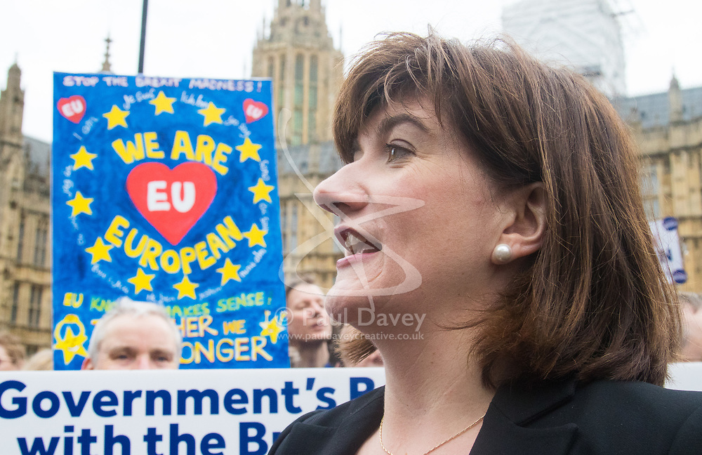 London, March 29th 2017. Open Britain protesters demonstrate outside Parliament as Prime Minister Theresa May triggers Article 50, beginning formal divorce proceedings as Britain leaves the European Union. The protesters demand that those in charge of the brexit negotiations are held to account. PICTURED: Former Education Secretary Nicky Morgan.  ©Paul Davey<br /> FOR LICENCING CONTACT: Paul Davey +44 (0) 7966 016 296 paul@pauldaveycreative.co.uk
