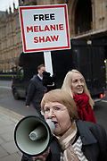 Demonstrators protest in favour of the release from prison of child abuse Whistleblower Melanie Shaw on 4th December 2018 in London, England, United Kingdom.