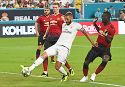 Karim Mostafa Benzema scores a goal past David de Gea of Manchester United in the first half during International Champions Cup action at Hard Rock Stadium in Miami Gardens, FL, USA on Tuesday, July 31, 2018. Manchester United won, 2-1. Photo by Jim Rassol/Sun Sentinel/TNS/ABACAPRESS.COM