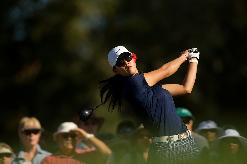 RANCHO MIRAGE, CA - APRIL 1: Michelle Wie plays a shot during the second round of the 2011 Kraft Nabisco Championship at Mission Hills Country Club in Rancho Mirage, California on April 1, 2011. (Photograph ©2011 Darren Carroll) *** Local Caption *** Michelle Wie