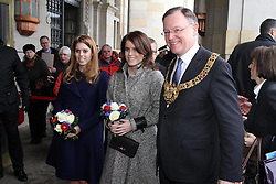 Princess Beatrice and Princess Eugenie are greeted by The Mayor of Hanover Stephan Weil as they arrive at Hanover City Hall, Hanover, Germany, January 18, 2013. Photo by Imago / i-Images...UK ONLY
