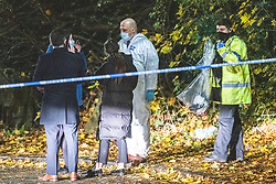 © Licensed to London News Pictures. 14/11/2020. Moston, UK. Forensic scenes of crime examiners at the scene . Scene on Williams Road in Moston where it's understood a women's body was found on fire earlier this evening (Saturday 14th November 2020) . Photo credit: Joel Goodman/LNP