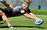Rugby Union -2020/2021 Gallagher Premiership - Round 22 -<br />Harlequins vs Newcastle Falcons - The Stoop<br /><br />Tyrone Green puts down a Try for Harlequins
