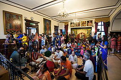 © Licensed to London News Pictures. 02/09/2018. Aldenham, UK. People worship at Bhaktivedanta Manor Temple in Aldenham, Hertfordshire during the Janmashtami Hindu festival. Janmashtami is an annual Hindu festival that celebrates the birth of Krishna. Bhaktivedanta Manor, the venue fo the event, was donated to the Hare Krishna movement in February 1973 by former Beatle George Harrison. Photo credit: Ben Cawthra/LNP