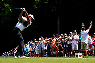Jun 30, 2018; Potomac, MD, USA; Tiger Woods plays his shot from the 11th tee during the third round of The National golf tournament at TPC Potomac at Avenel Farm. Mandatory Credit: Peter Casey-USA TODAY Sports