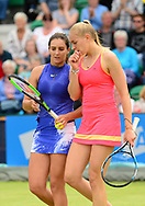 Laura Robson (GBR) , left and Jocelyn Rae (GBR) talk during their doubles match against Su-Wei Hsieh and Magda Linette. The Aegon Open Nottingham 2017, international tennis tournament at the Nottingham tennis centre in Nottingham, Notts , day 2 on Tuesday 13th June 2017.<br /> pic by Bradley Collyer, Andrew Orchard sports photography.