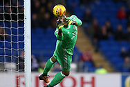 Cardiff city goalkeeper Neil Etheridge in action.EFL Skybet championship match, Cardiff city v Ipswich Town at the Cardiff city stadium in Cardiff, South Wales on Tuesday 31st October 2017.<br /> pic by Andrew Orchard, Andrew Orchard sports photography.
