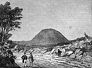 Silbury Hill, Wiltshire, England. Pre-historic earth mound thought to date from c2500 BC.  Largest man-made mound in Europe, its purpose is still unknown.   Woodcut, London, 1836.