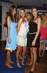 Left to right, MRS ZARA SIMON, MISS LUCY BRIDGE and Model & actress MISS CRESSIDA WILSON at a party to view the designs of Jessica Simon at the beginning of London Fashion Week held at The Electric Cinema, Portabello Road, London on 19th September 2004.<br />