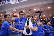 DESCRIZIONE : Brindisi Lega A 2014-15 Play Off Gara3 Quarti di Finale Enel Brindisi GrissinBon Reggio Emilia<br /> GIOCATORE : Tullio Marin Fernando Marino<br /> CATEGORIA : Esultanza<br /> SQUADRA : Esultanza<br /> EVENTO : Campionato Lega A 2014-2015<br /> GARA : Enel Brindisi GrissinBon Reggio Emilia<br /> DATA : 23/05/2015<br /> SPORT : Pallacanestro <br /> AUTORE : Agenzia Ciamillo-Castoria/M.Longo<br /> Galleria : Lega Basket A 2014-2015 <br /> Fotonotizia : Brindisi Lega A 2014-15 Play Off Gara3 Quarti di Finale Enel Brindisi GrissinBon Reggio Emilia