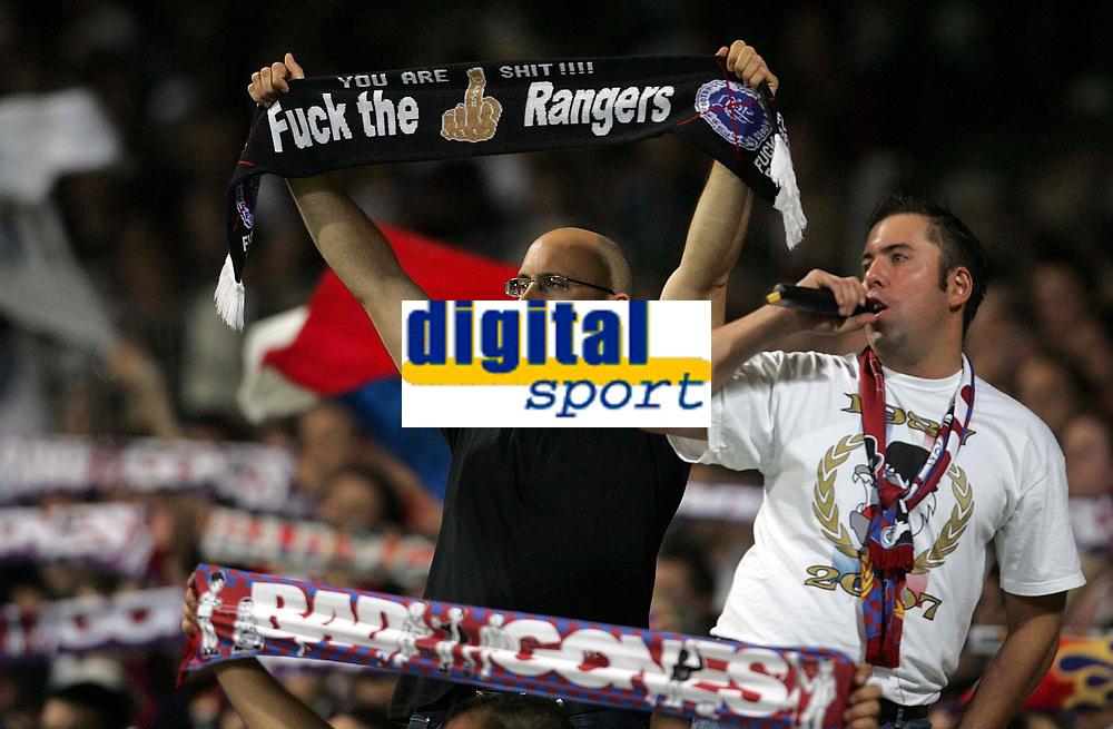 Photo: Paul Thomas.<br /> Lyon v Rangers. UEFA Champions League, Group E. 02/10/2007.<br /> <br /> Lyon fans aren't too happy.