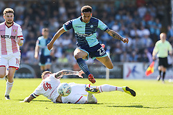 Nathan Tyson of Wycombe Wanderers on the attack jumps over Jack King of Stevenage sliding tackle - Mandatory by-line: Jason Brown/JMP - 05/05/2018 - FOOTBALL - Adam's Park - High Wycombe, England - Wycombe Wanderers v Stevenage - Sky Bet League Two