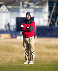 Sir Steve Redgrave playing the first hole. Alfred Dunhill Links Championship this morning at Championship Course at Carnoustie.