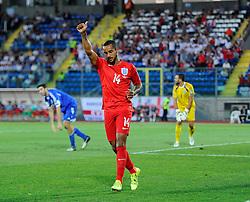 Theo Walcott of England (Arsenal) celebrates scoring his second goal of the game  - Mandatory byline: Joe Meredith/JMP - 07966386802 - 05/09/2015 - FOOTBALL- INTERNATIONAL - San Marino Stadium - Serravalle - San Marino v England - UEFA EURO Qualifers Group Stage