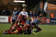 Nick Williams of Cardiff Blues.Guinness Pro14 rugby match, Cardiff Blues v Dragons at the Cardiff Arms Park in Cardiff, South Wales on Friday 6th October 2017.<br /> pic by Andrew Orchard, Andrew Orchard sports photography.