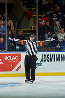 KELOWNA, CANADA - DECEMBER 27: Referee Mike Langin calls no goal during the shoot out between Kelowna Rockets and Kamloops Blazers on December 27, 2017 at Prospera Place in Kelowna, British Columbia, Canada.  (Photo by Marissa Baecker/Shoot the Breeze)  *** Local Caption ***