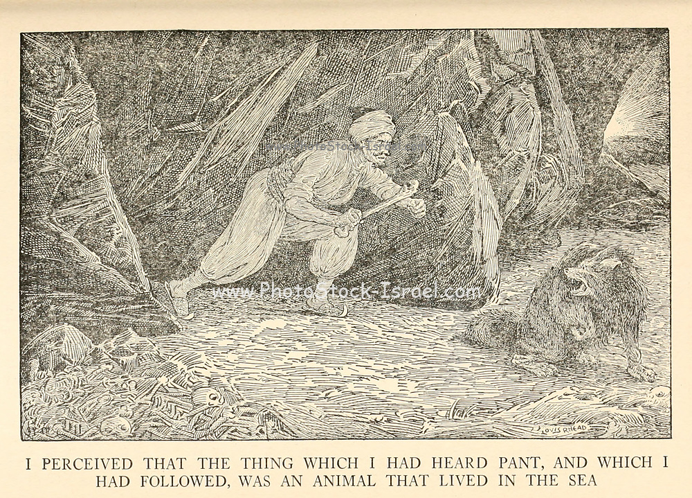 I Perceived That The Thing Which I Had Heard Pant, And Which I Had Followed, Was An Animal That Lived In The Sea from the book '  The Arabian nights' entertainments ' Test and Illustrations by Louis Rhead, Published  in New York by Harper & Brothers in 1916. In order to save her life, Sheherazade entertains the sultan by telling him wondrous stories