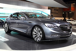 """12 February 2015:  2016 BUICK AVENIR: A spectacular Buick concept will be on review for the first time at a Chicago Auto Show, Feb. 14-22, 2015. Buick calls the prototype, """"Avenir,"""" which is French for future. The Avenir serves as a test vehicle to explore new styling and advanced technology that may transfer to future production models. More than 100 designers, sculptors and fabricators at GM's design studio near Melbourne, in Australia, and Buick's North American design center, in Warren, Mich., contributed to the project. Avenir's classic rear-wheel drive proportion and exterior design theme include Buick's signature sweep-spear body side motif, taught lines, a long hood, short overhangs, wheels-at-the-corners stance, and a nod to the """"boattail"""" styling of the 1971-73 Rivera. A striking new grille design features a large opening accented by a return to the three-color – red, silver and blue – Buick tri-shield insignia, accented by wing-shaped elements. The grille is flanked by bold headlamps featuring full LED lighting. Avenir's sophisticated color palette, including a crystalline exterior color and strained use of bright work accent the Avenir's body lines. Within the personal four-passenger cabin there is a color palette of light and natural tones blended with oiled and buffed wood trim and Galvano satin-chrome accents. There are driver-recognition features that automatically sync infotainment preferences and Buick IntelliLink with large, 12-inch diagonal color touch screen. Keeping the interior fresh is an ionic air filtration system. Suggested powertrain consists of the next-generation direct-injected V-6 engine with fuel-saving active fuel management that deactivates cylinders when not need, stop/start technology, and nine-speed paddle-shift automatic transmission. A twin-clutch all-wheel drive system is featured, as is driver-selectable suspension. This is a must see concept car at the 107th annual Chicago Auto Show.<br /> <br /> First staged in"""