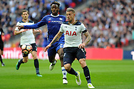 Tottenham's Toby Alderweireld (r) beats Chelsea's Michy Batshuayi (23) to the ball. The Emirates FA Cup semi-final match, Chelsea v Tottenham Hotspur at Wembley Stadium in London on Saturday 22nd April 2017.<br /> pic by Carl Robertson,  Andrew Orchard sports photography.