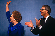 Ex British Prime Minister Margaret Thatcher with current premier  John Major at 1991 Tory party conference. Thatcher died on April 8th 2013 after suffering a stroke while staying in the Ritz Hotel, London.