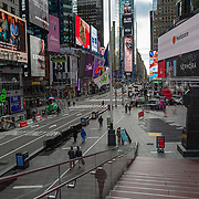 Uncrowded Times Square seats are seen during the holiday season with the Coronavirus (Covid-19) outbreak in Manhattan, New York on Tuesday, December 8, 2020. (Alex Menendez via AP)