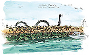 Shilly the Sea Monster sits on the seawall at Shilshole Marina. (Gabriel Campanario / The Seattle Times)