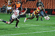 Declan O'Donnell eyes the try line as he beats Tom Marshall during their Round 5 ITM cup Rugby match, Waikato v Tasman, at Waikato Stadium, Hamilton, New Zealand, Friday 29 July 2011. Photo: Dion Mellow/photosport.co.nz