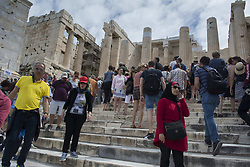 May 9, 2017 - Athens, Greece - Tourists visit the Acropolis. More and more tourists are expected to visit Greece in 2017 hitting new records, according to authorities. (Credit Image: © Nikolas Georgiou via ZUMA Wire)