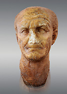 Roman sculpture of the Emperor Vespesien, excavated  from Althiburos sculpted circa  69-79AD. The Bardo National Museum, Tunis, Inv No: C.1025.   Against a grey background. .<br /> <br /> If you prefer to buy from our ALAMY STOCK LIBRARY page at https://www.alamy.com/portfolio/paul-williams-funkystock/greco-roman-sculptures.html . Type -    BARDO    - into LOWER SEARCH WITHIN GALLERY box - Refine search by adding a subject, place, background colour, museum etc.<br /> <br /> Visit our CLASSICAL WORLD HISTORIC SITES PHOTO COLLECTIONS for more photos to download or buy as wall art prints https://funkystock.photoshelter.com/gallery-collection/The-Romans-Art-Artefacts-Antiquities-Historic-Sites-Pictures-Images/C0000r2uLJJo9_s0c