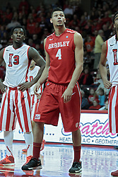 15 February 2014:  Daishon Knight and Auston Barnes line up for a free throw during an NCAA Missouri Valley Conference (MVC) mens basketball game between the Bradley Braves and the Illinois State Redbirds  in Redbird Arena, Normal IL.