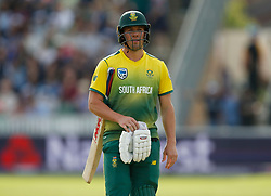 South Africa's AB De Villiers looks dejected after losing his wicket during the second NatWest T20 Blast match at the Cooper Associates County Ground, Taunton.