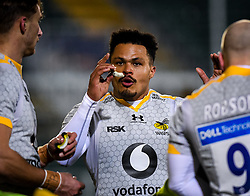 Juan de Jongh of Wasps in a huddle - Mandatory by-line: Andy Watts/JMP - 08/01/2021 - RUGBY - Recreation Ground - Bath, England - Bath Rugby v Wasps - Gallagher Premiership Rugby