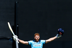 Jonny Bairstow of England celebrates hitting 100 - Mandatory by-line: Robbie Stephenson/JMP - 03/07/2019 - CRICKET - Emirates Riverside - Chester-le-Street, England - England v New Zealand - ICC Cricket World Cup 2019 - Group Stage