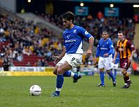 Photo. Glyn Thomas.<br /> Bradford v Ipswich. Nationwide Division 1.<br /> Bradford & Bingley Stadium, Bradford. 11/10/03.<br /> Ipswich's Pablo Counago misses a second half penalty shot.