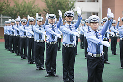 August 8, 2017 - Wuxi, Wuxi, China - Wuxi, CHINA-August 8 2017: (EDITORIAL USE ONLY. CHINA OUT) ..About 100 traffice policemen practce gesture of traffice commanding in Wuxi, east China's Jiangsu Province, August 8th, 2017. (Credit Image: © SIPA Asia via ZUMA Wire)