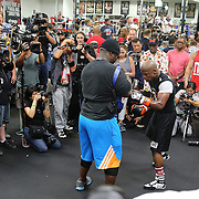 LAS VEGAS, NV - APRIL 14: WBC/WBA welterweight champion Floyd Mayweather Jr. (R) works out with Nate Jones at the Mayweather Boxing Club on April 14, 2015 in Las Vegas, Nevada. Mayweather Jr. will face WBO welterweight champion Manny Pacquiao in a unification bout on May 2, 2015 in Las Vegas.  (Photo by Alex Menendez/Getty Images) *** Local Caption *** Floyd Mayweather Jr., Nate Jones