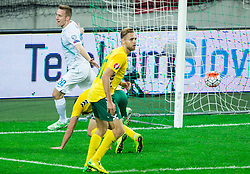 Robert Beric of Slovenia reacts during the EURO 2016 Qualifier Group E match between Slovenia and Lithuania, on October 9, 2015 in SRC Stozice, Ljubljana Slovenia. Photo by Vid Ponikvar / Sportida
