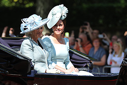 © Licensed to London News Pictures. 09/06/2018. London, UK. Camilla The Duchess of Cornwall and Catherine The Duchess of Cambridge travel down The Mall during the Trooping The Colour ceremony in London to mark the 92nd birthday of Queen Elizabeth II, Britain's longest reigning monarch. Photo credit: Rob Pinney/LNP