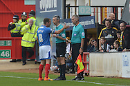 Michael Doyle, the Portsmouth captain complains to Referee Seb Stockbridge and the linesman for the goal given to Robbie Simpson of Cambridge United making it 1-0. Skybet football league two match, Cambridge Utd v Portsmouth at the Abbey Stadium  in Cambridge on Saturday 10th October 2015.<br /> pic by John Patrick Fletcher, Andrew Orchard sports photography.