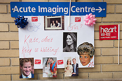 © London News Pictures. 03/04/15. London, UK. A sign is hung opposite the Lido Wing, St Mary's Hospital, Central London in anticipation of the birth of the second child of the Duke and Duchess of Cambridge. Photo credit: Laura Lean/LNP