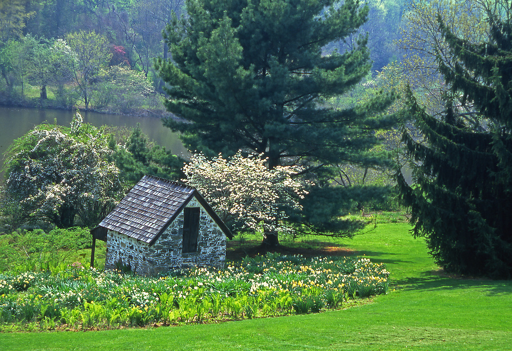 Springhouse, Lake, Springtime Flowers and Trees, Green Valley, French Creek, Philadelphia gardens and arboretums, Welkinweir, Chester Co., PA