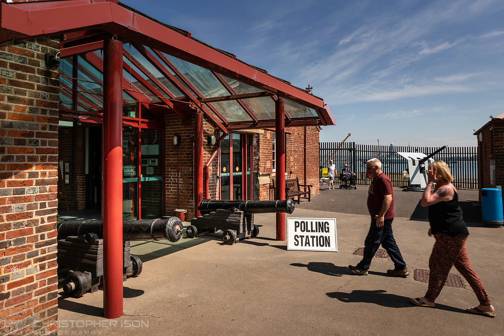 Voters head to one of the most heavily fortified polling stations in the country at the Explosion Museum in Gosport to cast their votes in the European Elections today.<br /> Picture date Thursday 23rd May, 2019.<br /> Picture by Christopher Ison. Contact +447544 044177 chris@christopherison.com