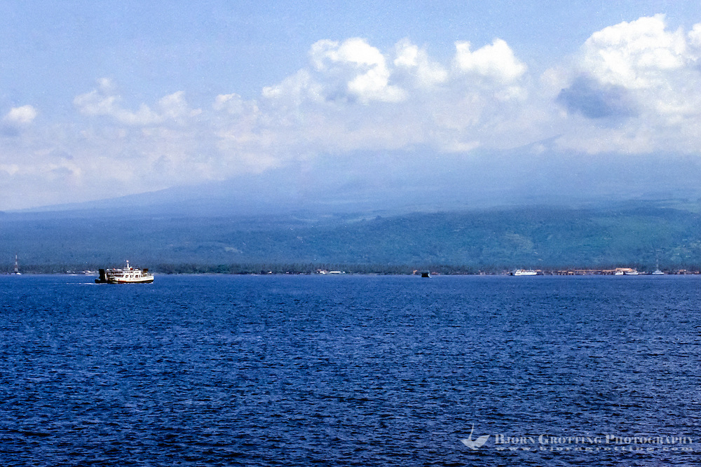 Java, Banyuwangi. The Java to Bali ferry, Bali in the background.