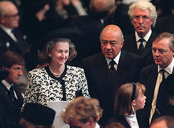 Raine Spencer, Diana's Mother-In-Law with Mohamed Al Fayed at the funeral of Diana, Princess of Wales at Westminster Abbey, London on September 6, 1997.