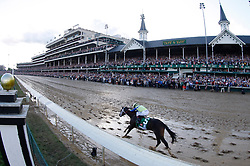 May 6, 2017 - Louisville, Kentucky, USA - Always Dreaming with John R. Velazquez up at the sixteenth pole on his way to winning the 143rd running of the Kentucky Derby at Churchill Downs. (Credit Image: © Lexington Herald-Leader via ZUMA Wire)