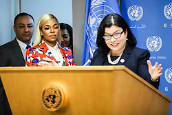 April 30, 2019 - New York, New York, US - Ashanti singer during reporter attendance on the upcoming ''Play It Out'' concert to combat plastic pollution at United Nations headquarters in New York in the United States this Tuesday, April 30. (Credit Image: © William Volcov/ZUMA Wire)