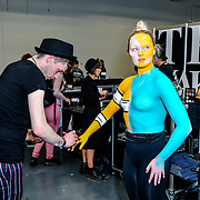 James Molloy of Mykitco and model Mairi Shaw demo at IMATS London on 18 May 2019,  London, UK.
