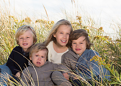 portrait of four siblings in the tall grasses of The Hamptons