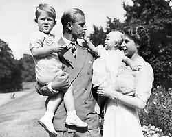 Aug. 9, 1951 - London, England, U.K. - The elder daughter of King George VI and Queen Elizabeth, ELIZABETH WINDSOR (named Elizabeth II) became Queen at the age of 25, and has reigned through more than five decades of enormous social change and development. PICTURED: QUEEN ELIZABETH and PRINCE PHILIP with their children PRINCE CHARLES and PRINCESS ANNE.  (Credit Image: © Keystone Press Agency/Keystone USA via ZUMAPRESS.com)