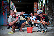 Three vietnamese men prepare their rooster for a fight. Doc Let, Vietnam, Asia